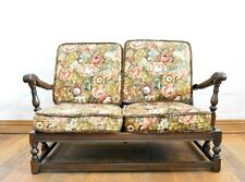 Antique vintage carved Ercol 2 seater relaxer sofa with cushions