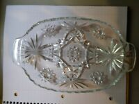 Vintage Glass, Clear, Divided, Star Pattern, Pickle, Relish Dish