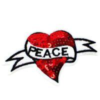 Parche Parche para Coser Herz Heart Retro Peace Planchar Shabby Rockabilly Rojo