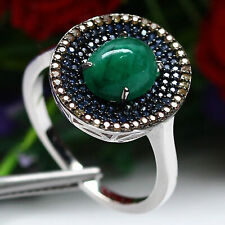 NATURAL 7 X 9mm. GREEN EMERALD & BLUE WITH YELLOW SAPPHIRE RING 925 SILVER