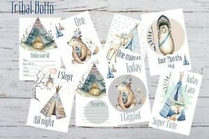 Baby Milestone Cards, Boho Tribal Bear, Boys, Pack of 34, 300gsm, photo prop
