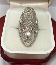 Huge Sterling Silver 2 - 3 Ct Diamond Pave Cocktail Cluster 925 Wedding Ring 6