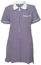 "NAVY school gingham dress, zipped front, pleats, matching scrunchie, 34"",age 13"