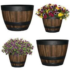 11.3 - 20 In. Resin Barrel Planter Indoor Outdoor Large Flower Pot Garden Decor