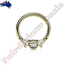 Gold Ion Plated Bendable Septum/Cartilage Ring Hoop with Prong Set Clear CZ