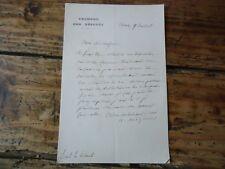 LORRAINE LETTRE AUTOGRAPHE ALFRED MEZIERES NANCY DEPUTES 1885 MEURTHE ET MOSELLE