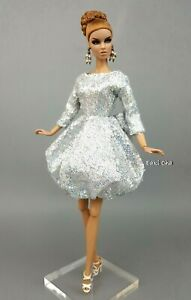 Eaki Silver White Cocktail Dress Outfit Gown Fits Silkstone Fashion Royalty FR