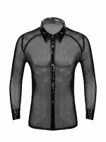 Herren durchsichtig Hemd Umlegekragen Sexy Langarm Shirt Tops Reizwäsche Schwarz