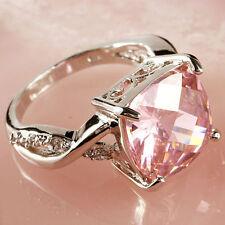 Pink & White Gemstone Fashion Jewelry Women Gift Silver Ring Size 7