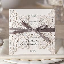Elegant Laser Cut Wedding Invitation Card - White w/Ribbon