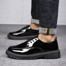 Mens Patent Leather Business Round TOe Oxfords Lace Up Causal Shoes US Size