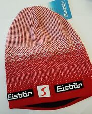 EISBAR Red & White Wool Blend Beanie - One Size Adult