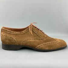 RALPH LAUREN Size 8 Brown Perforated Suede Wingtip Lace Up