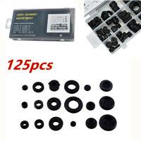 125pcs Rubber Grommet Kits Firewall Hole Plug Electrical Wire Transparent Box PP