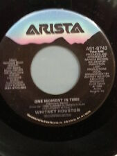 """WHITNEY HOUSTON 45 RPM """"One Moment in Time"""" """"Love is a Contact Sport"""" VG+ cond"""