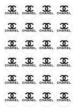 24 x Chanel black and whie Edible Image Cupcake Toppers Pre-Cut