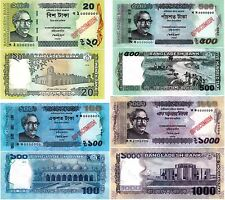 Bangladesh Specimen Bank Notes 20, 100, 500, 1000 Taka UNC