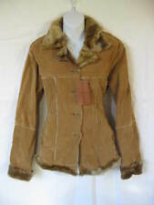 *Bombshell Store Fake Fur & Suede Beige Camel Warm Fuzzy Button Up Coat L