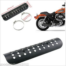 Black Motorcycle Exhaust Muffler Pipe Heat Shield Cover Heel Guard 22.8cm*6.3 cm