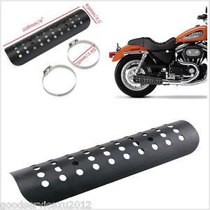 Black Motorcycle Exhaust Muffler Pipe Heat Shield Cover Heel Guard 22.8cm*6.3 cm