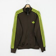 D13 Adidas Originals Men Brown Neon Yellow Track Jacket Firebird Rare Size L