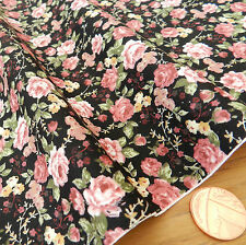 "per half metre Tilly floral black fabric 100% cotton poplin  44 "" wide"