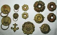 Lot 13 Antique Victorian Stamped Brass Furniture Hardware Plates Floral & Lions