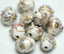 10 INDIAN FANCY LAMPWORK GLASS BEADS WHITE OVAL 10 x 13mm (BBB559)