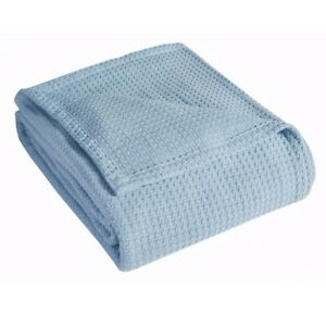 Grand Hotel Woven Cotton King Blue Throw Blanket - New