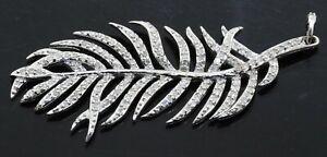 Designer hallmarked 14K white gold 1.32CT diamond leaf pendant