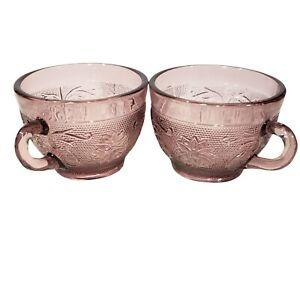 Tiara Sandwich Glass Amethyst Purple Tea Coffee Cups Vintage Set of 2