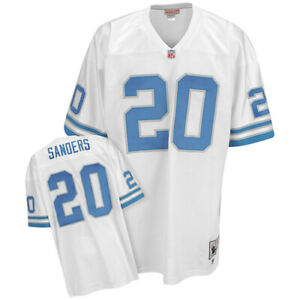 Barry Sanders #20 Detroit Lions Men's M&N White Retired Player Throwback Jersey