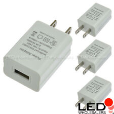 5V 1A 5W AC/DC Power Adapter USB Charger in White Finish (4-Pack), UL-Listed