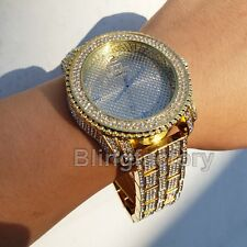 Men Hip Hop Full Iced out Band Gold PT Bling Simulated Diamond Rapper Watch