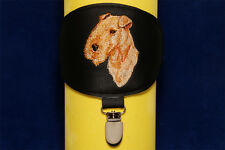 Lakeland Terrier arm band ring number holder with clip. For dog shows.