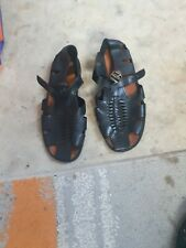 Mens Size 42 Black Leather Sandals