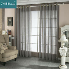 Pairs Modern Linen Striped Home Sheer European style window curtain for bedroom