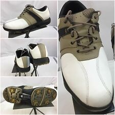 Walter Hagen Golf Shoes Sz 9.5 Men White Leather Tan Saddle Worn Once YGI L6-24