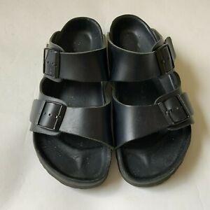 """Birkenstock Sandals Unisex Black Leather Adjustable Strap Made in Germany Sz 10"""""""