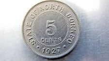 British North Borneo 5 Cents 1927-H lightly toned sharp AU. Rare grade !
