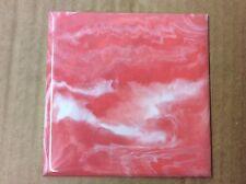 "VINTAGE Coral Marble PLASTIC TILE 4 1/4"" wall bathroom kitchen polystyrene"