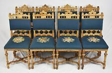 Set of 8 Baker Jacobean or Gothic Walnut Dining Chairs Beautiful Carved Chairs