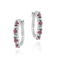 Sterling Silver Diamond Accent & Ruby Hoop Earrings