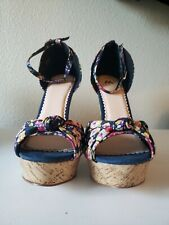 Madison By Shoedazzle Poppy Floral Cork Wedges Size 9.5