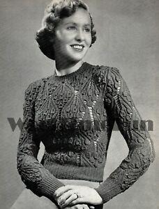 Knitting Pattern Vintage 1940s Ladies Bluebell Jumper. Long Or Short Sleeves.