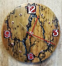 Round Wood Wall Clock- Lichtenberg Fractal Burn Pattern- Metal Numbers- Handmade
