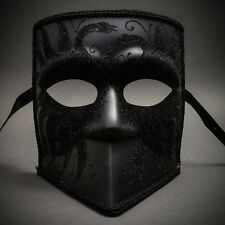BLACK Bauta Full Face Unisex Venetian Mardi Gras Halloween Party Masquerade