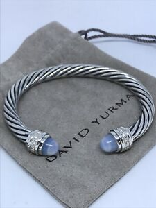David Yurman Cable Classic 925 Silver Moonstone & Diamond 7mm Bracelet
