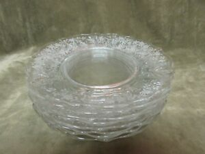 Vintage Fostoria Glass Meadow Rose Etch Clear Baroque Luncheon Plate Lot of 8