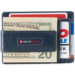 Alpine Swiss Mens RFID Safe Slim Magnetic Money Clip Leather Front Pocket Wallet